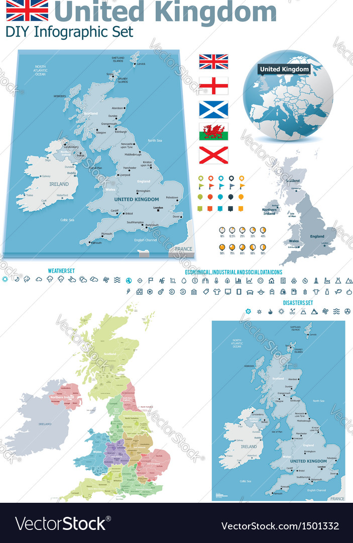United kingdom maps with markers vector | Price: 3 Credit (USD $3)