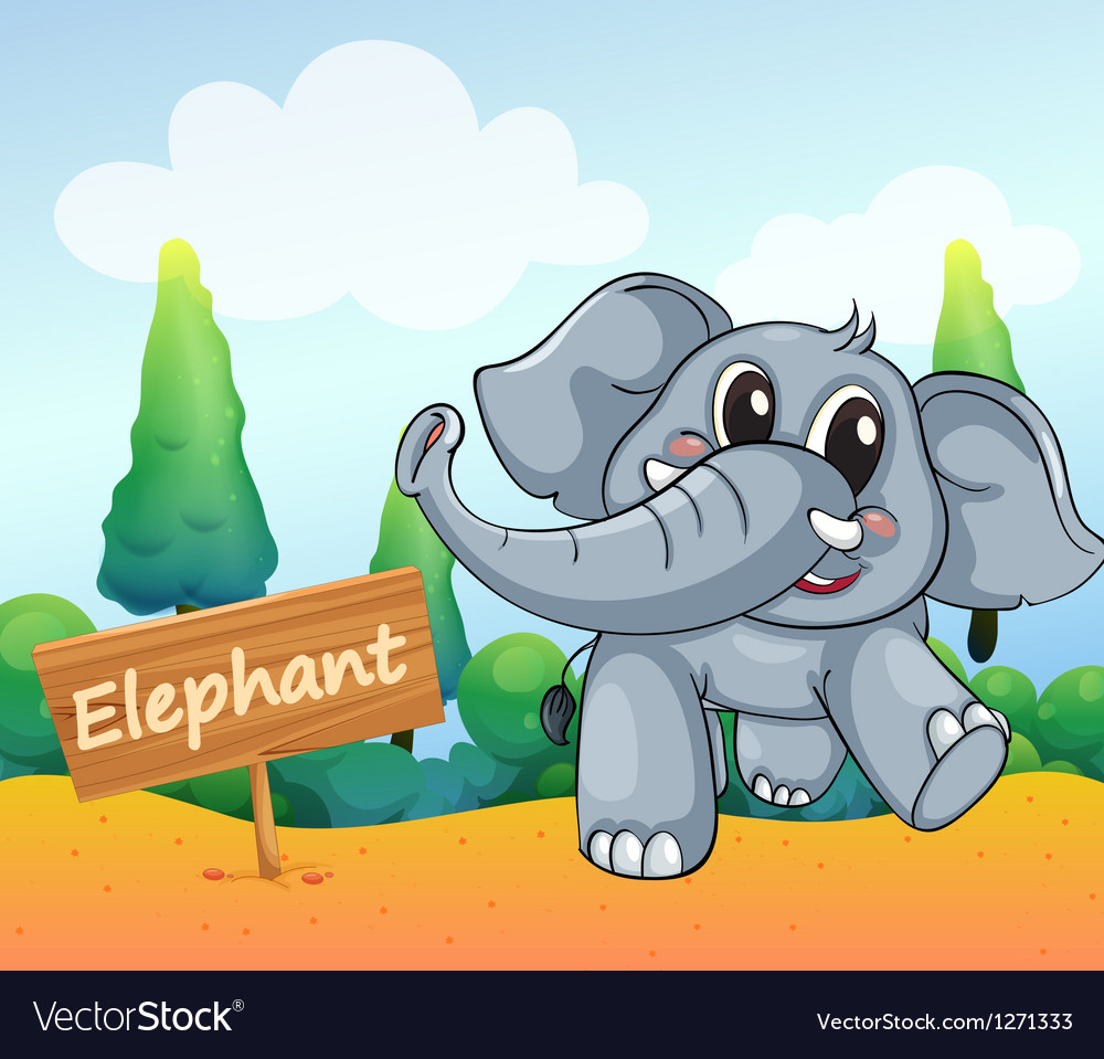 A baby elephant beside a wooden board vector | Price: 1 Credit (USD $1)