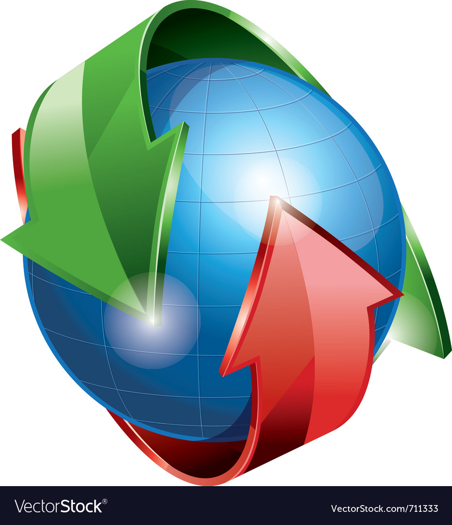 Globe with arrows vector | Price: 3 Credit (USD $3)