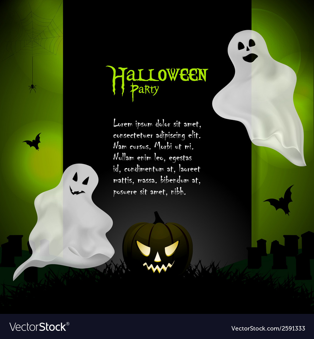 Halloween ghost background with sample text vector | Price: 1 Credit (USD $1)