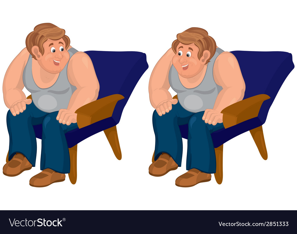 Happy cartoon man sitting in blue chair in gray vector | Price: 1 Credit (USD $1)