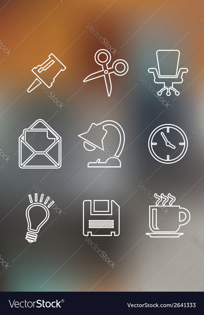 Set of flat office icons vector | Price: 1 Credit (USD $1)