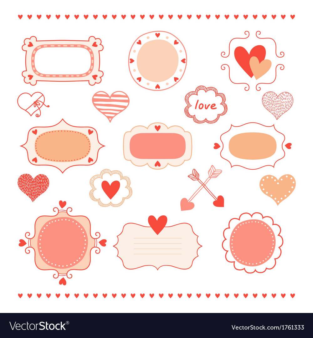 Set romantic frames and hearts vector | Price: 1 Credit (USD $1)