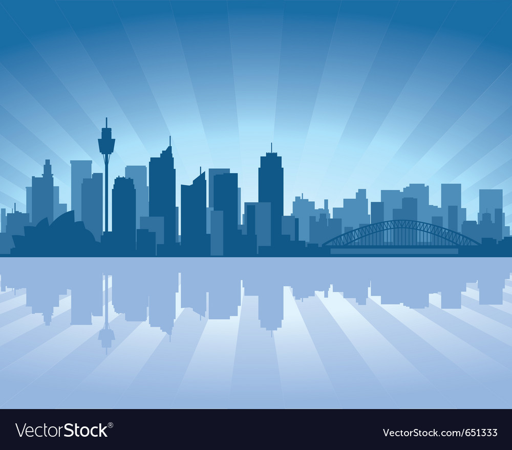 Sydney australia skyline with reflection in water vector | Price: 1 Credit (USD $1)