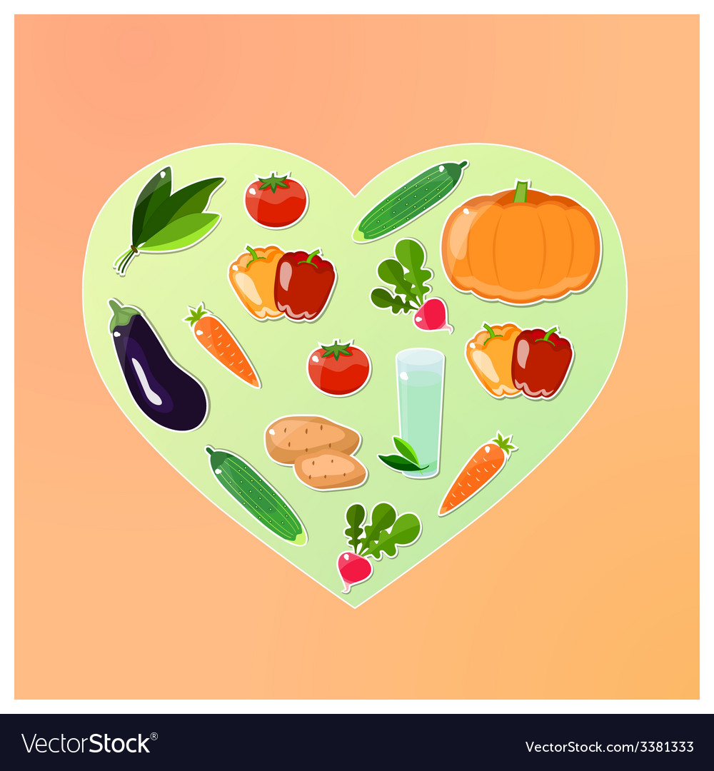Vegetable heart vector | Price: 1 Credit (USD $1)