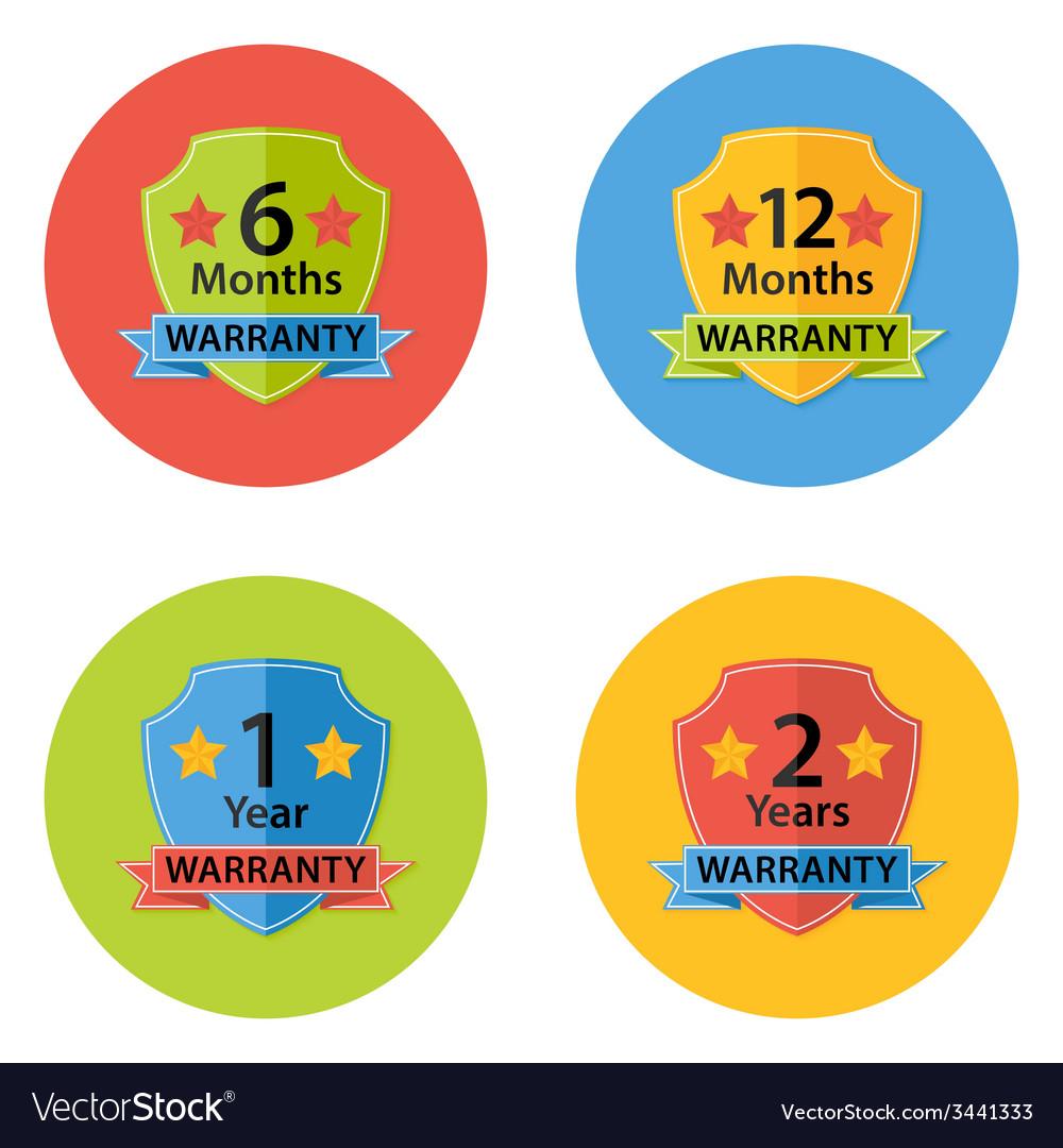 Warranty flat circle icons set 3 vector | Price: 1 Credit (USD $1)