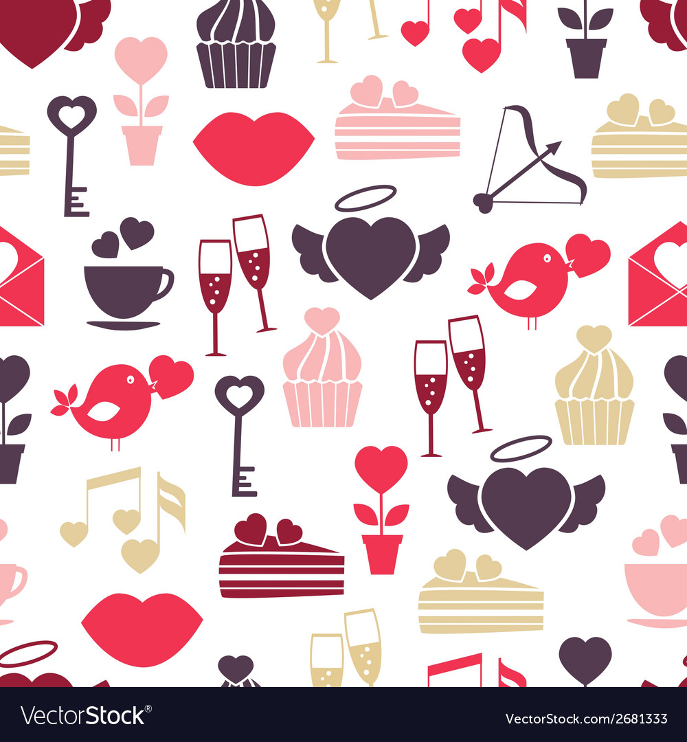Wedding and valentines day seamless pattern vector | Price: 1 Credit (USD $1)