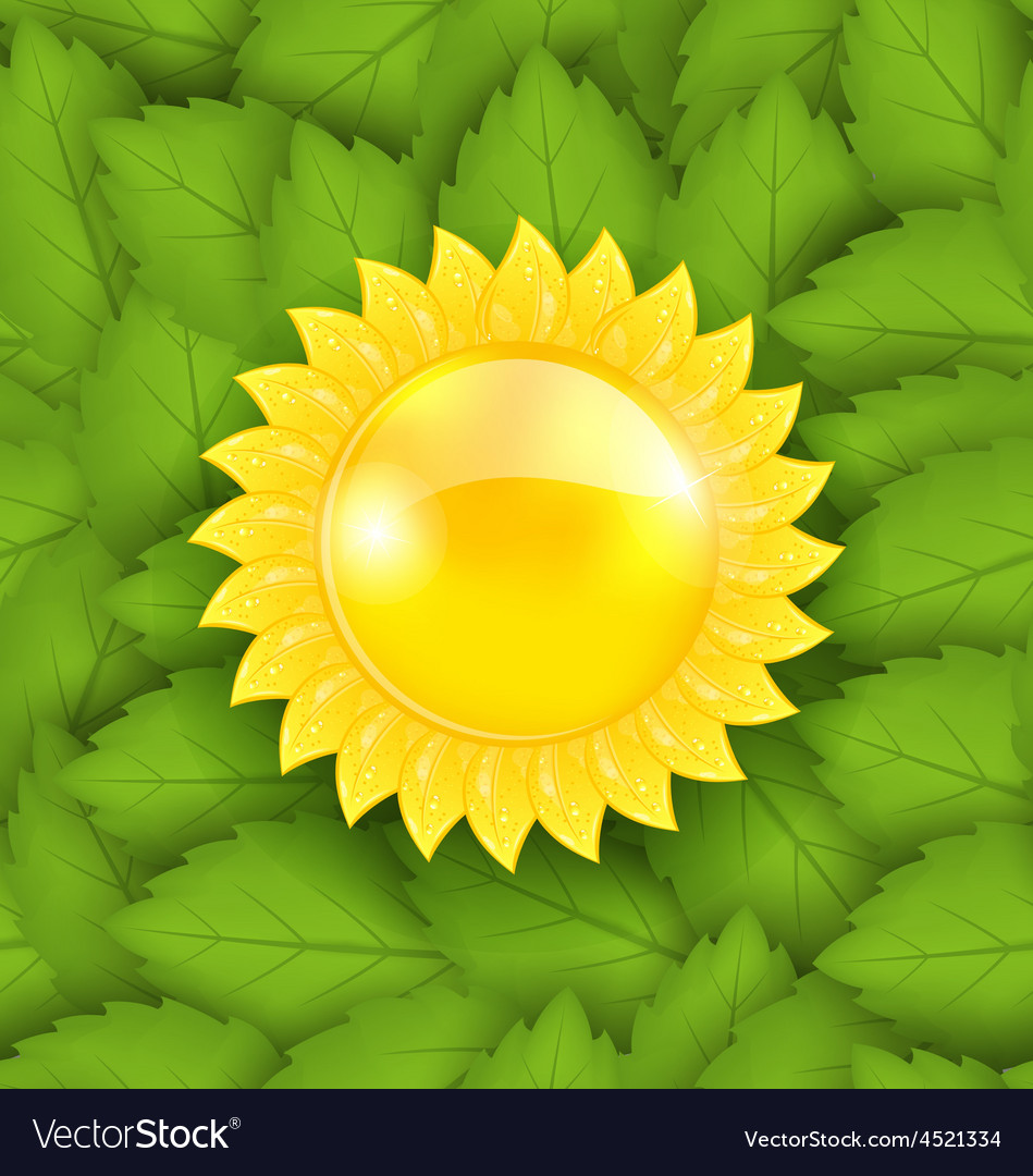 Abstract sun on green leaves seamless texture eco vector | Price: 1 Credit (USD $1)