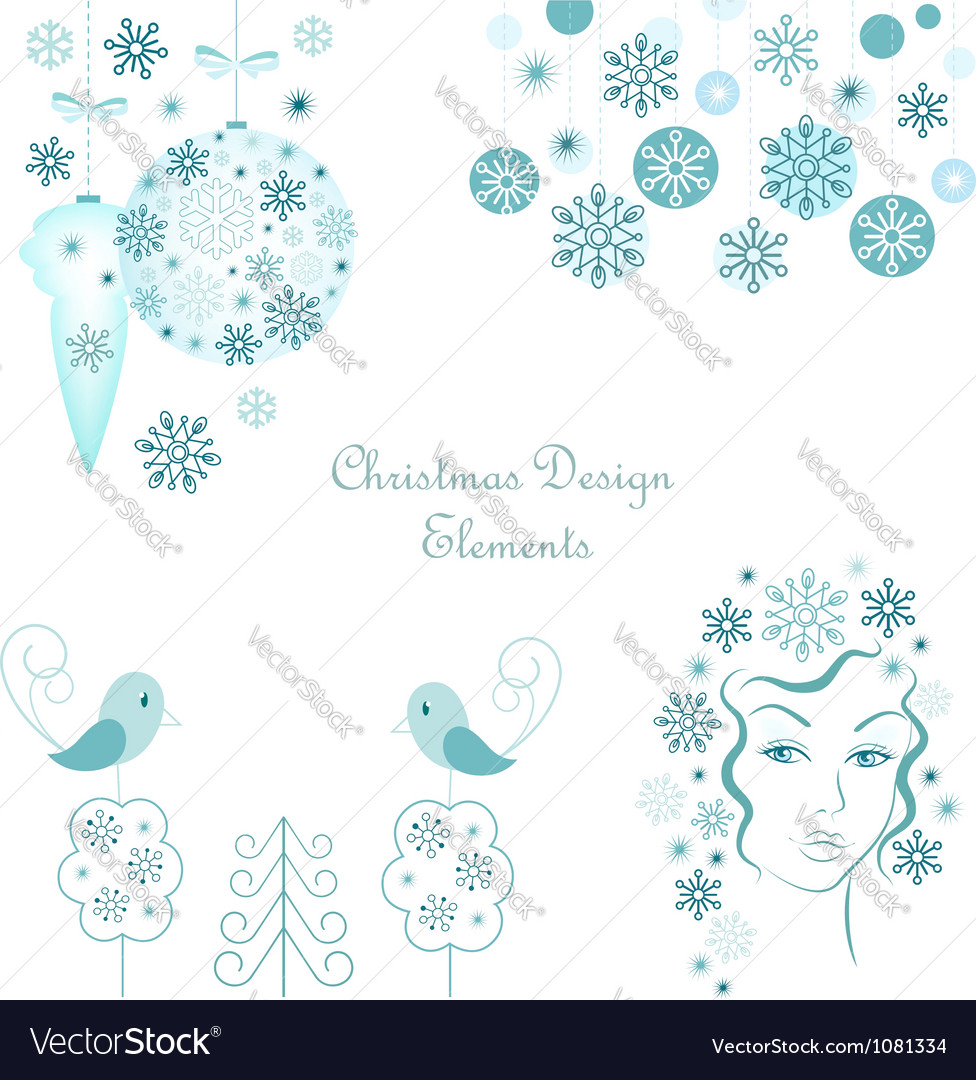 Christmas design elements set vector | Price:  Credit (USD $)