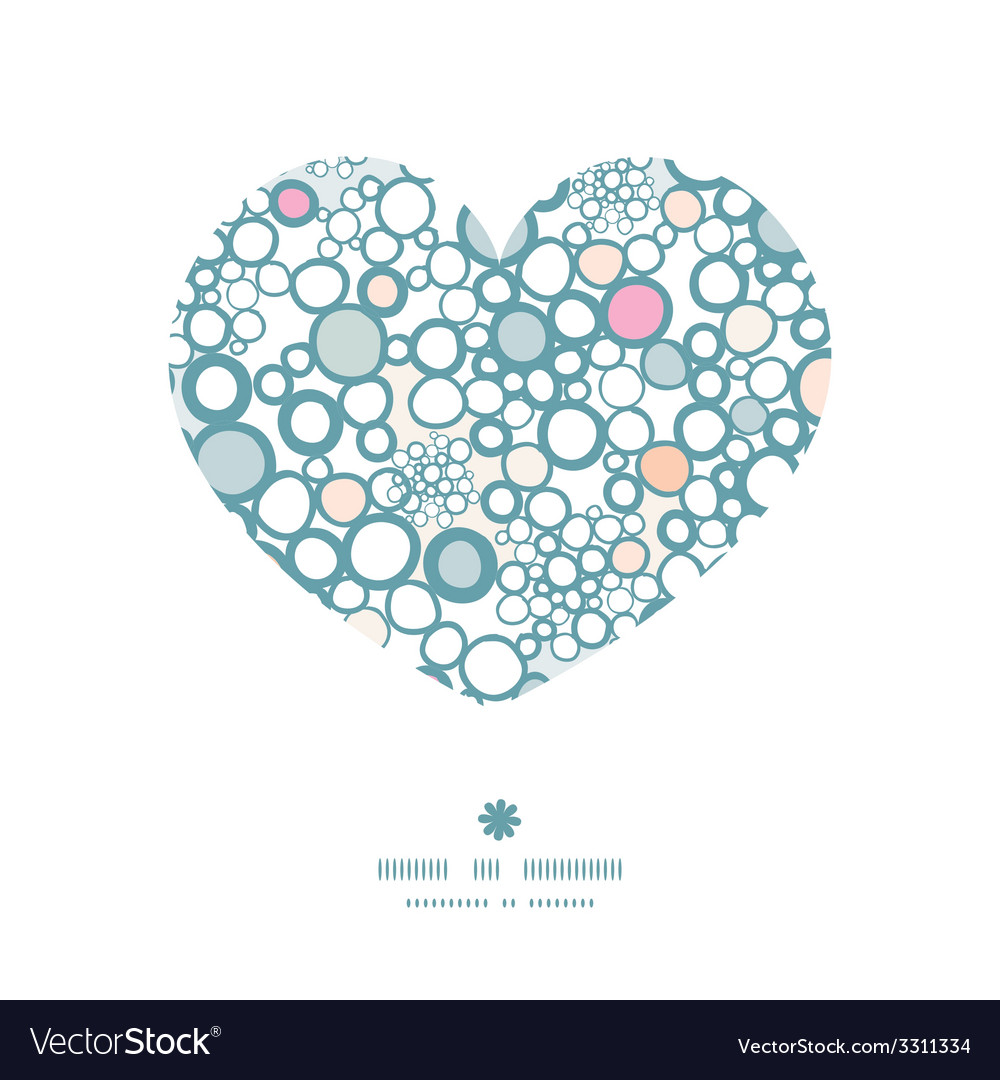 Colorful bubbles heart silhouette pattern frame vector