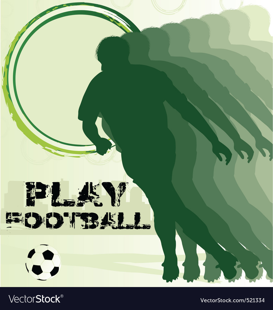 Football poster with soccer player silhouette vector | Price: 1 Credit (USD $1)