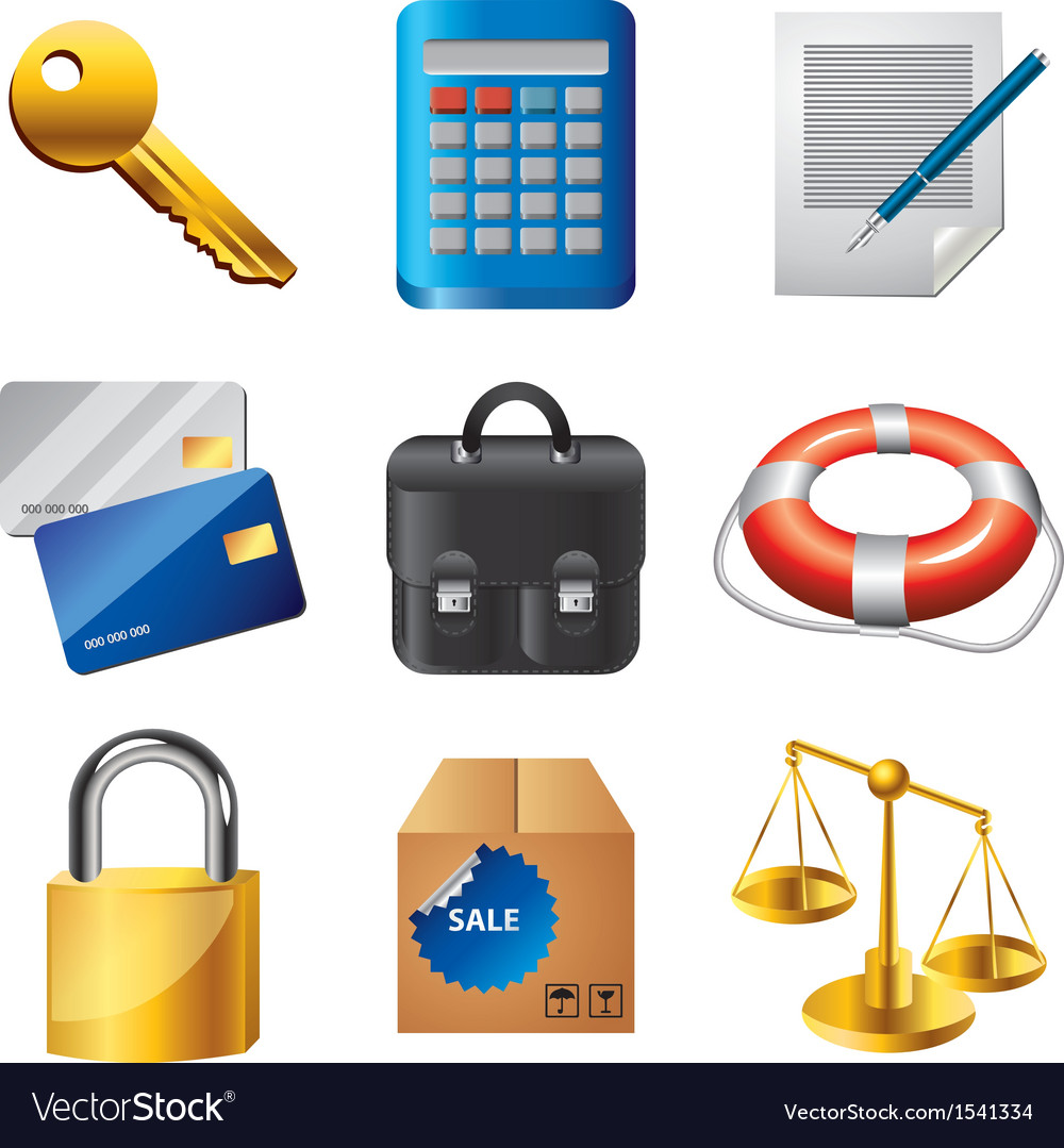 Icons business items vector | Price: 3 Credit (USD $3)