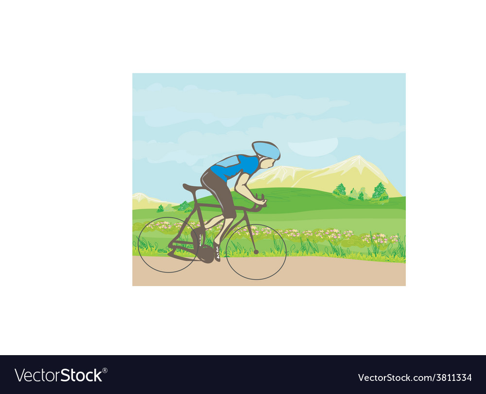 Man riding a bike in the mountains vector | Price: 1 Credit (USD $1)