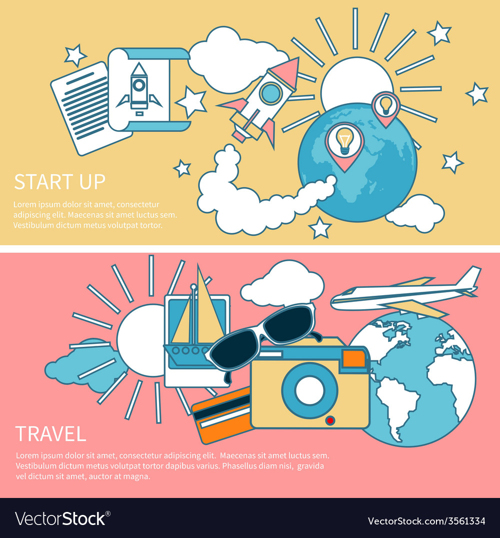 Start up rocket and international travel vector | Price: 1 Credit (USD $1)