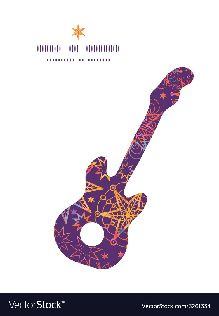Textured christmas stars guitar music silhouette vector | Price: 1 Credit (USD $1)