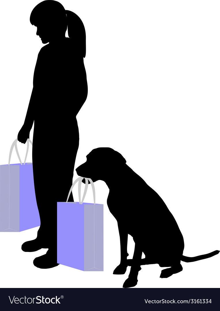 Woman and dog shopping vector | Price: 1 Credit (USD $1)