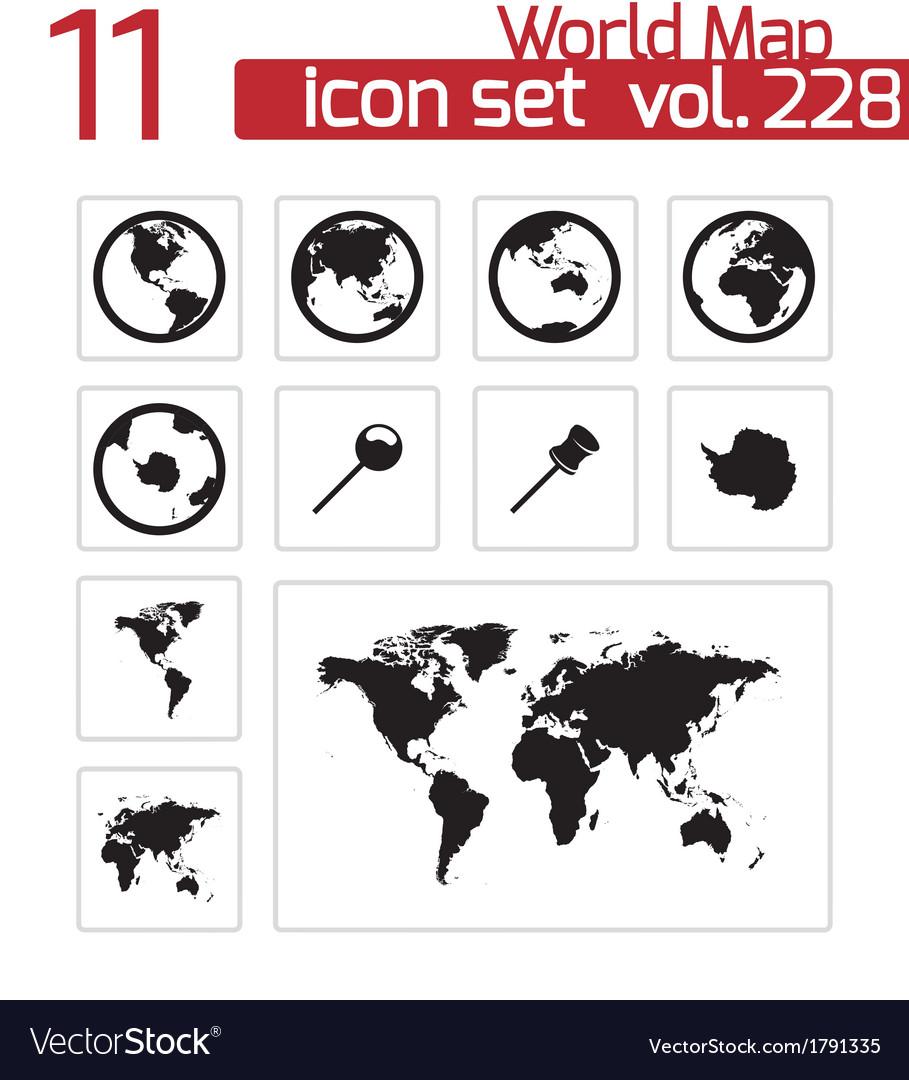 Black world map icons set vector   Price: 1 Credit (USD $1)
