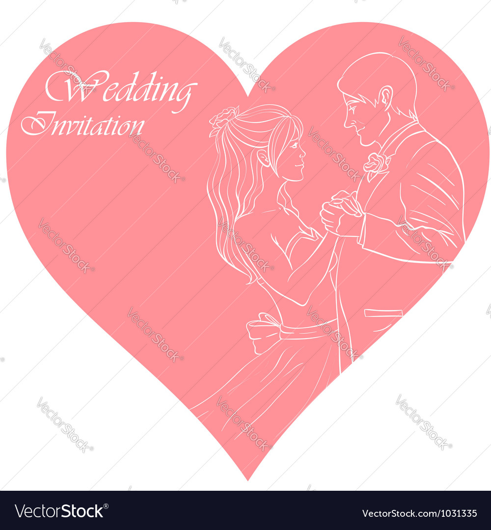 Bride and groom wedding invitation card vector | Price: 1 Credit (USD $1)