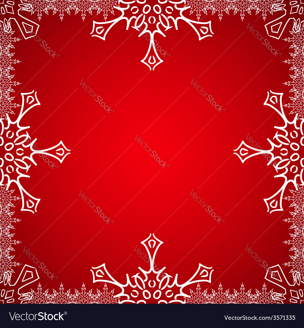 Christmas frame with snowflakes on the edge vector | Price: 1 Credit (USD $1)