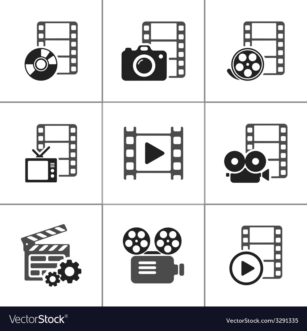 Film icon pack on white elements vector | Price: 1 Credit (USD $1)