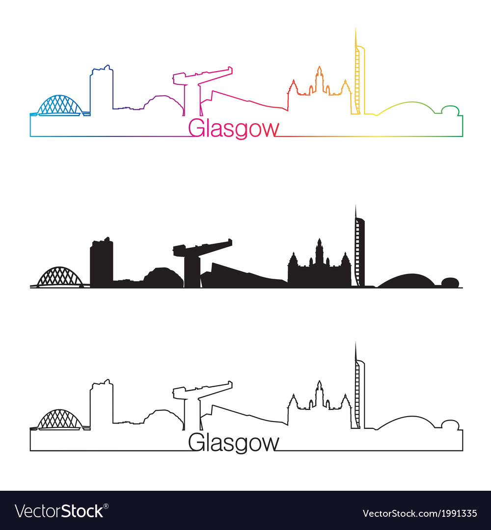 Glasgow skyline linear style with rainbow vector | Price: 1 Credit (USD $1)
