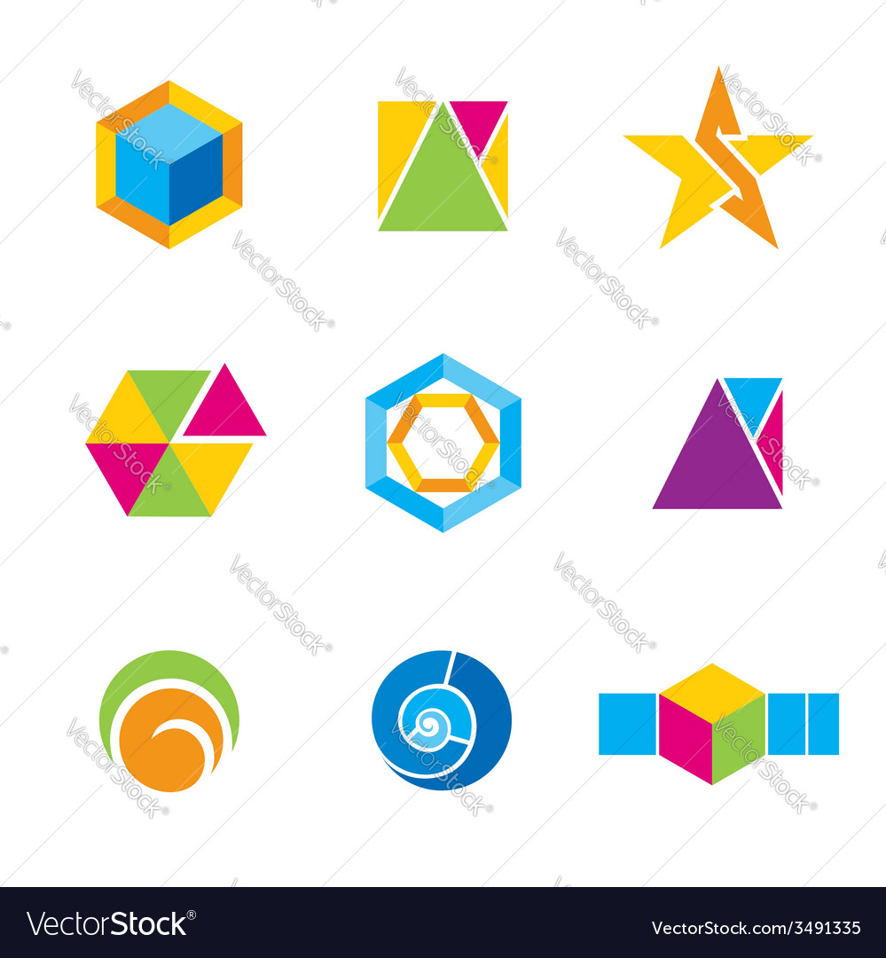 Set of geometrical logos vector | Price: 1 Credit (USD $1)
