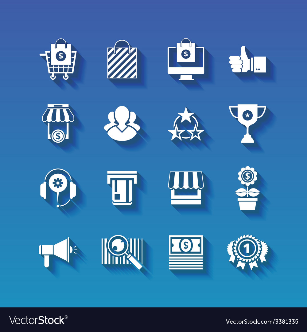 Shopping flat white icons set with long shadows vector | Price: 1 Credit (USD $1)