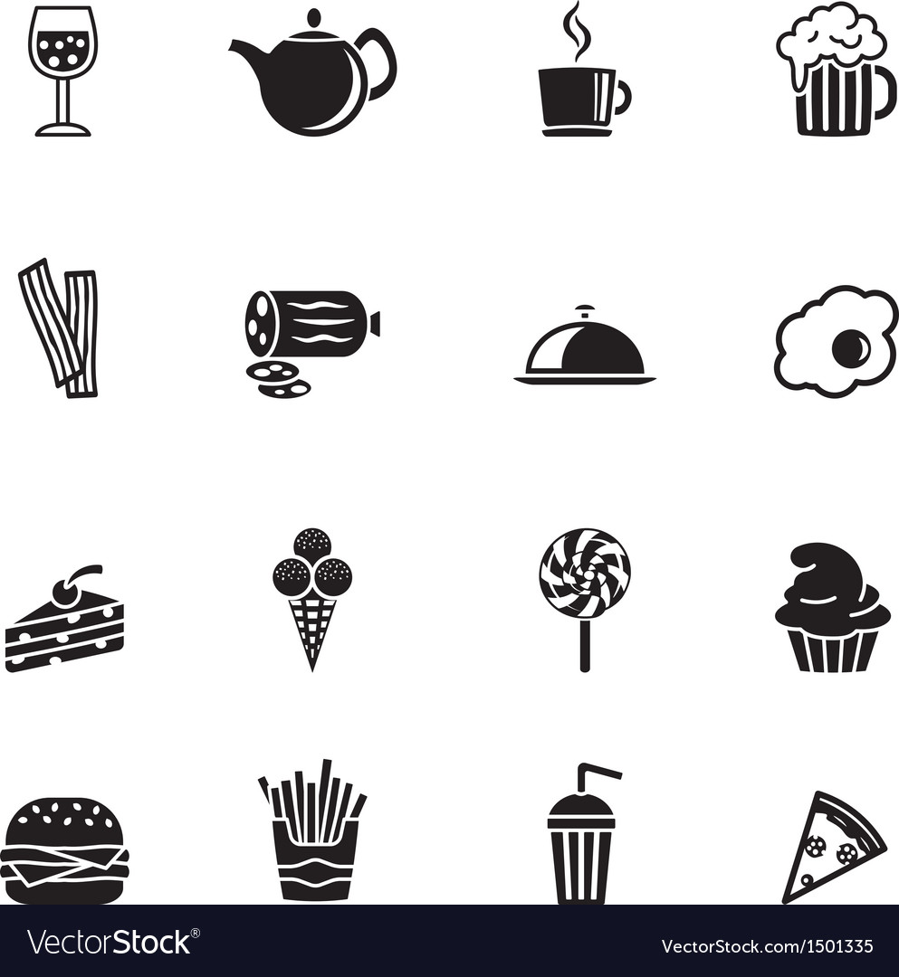 Sixteen black computer icons isolated on white vector | Price: 1 Credit (USD $1)
