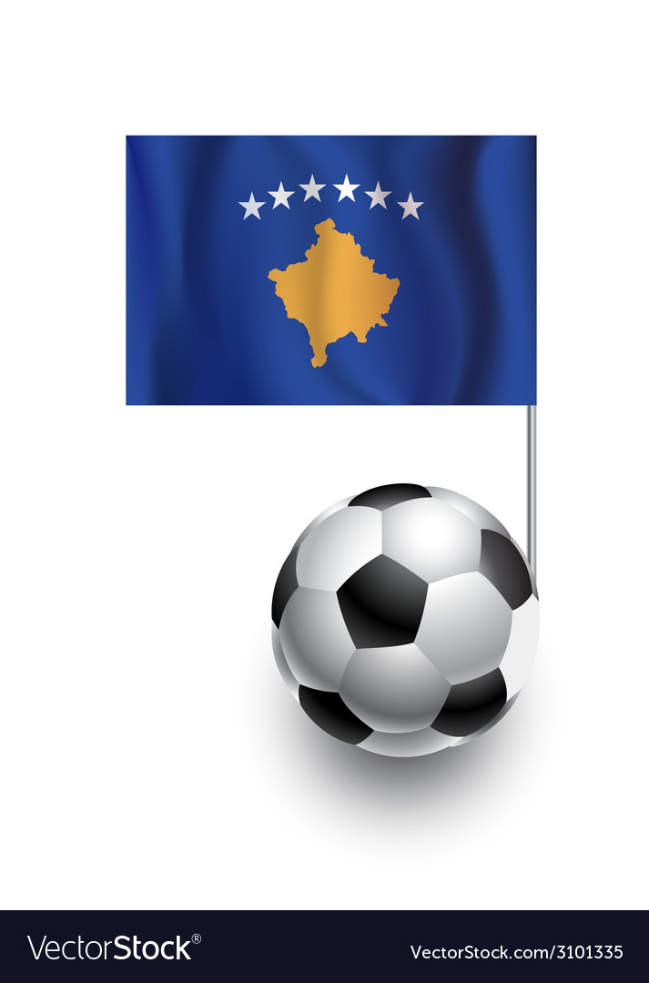 Soccer balls or footballs with flag of kosovo vector | Price: 1 Credit (USD $1)