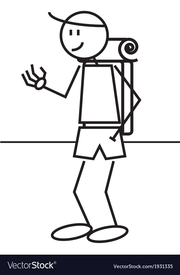 Stick figure backpack vector   Price: 1 Credit (USD $1)