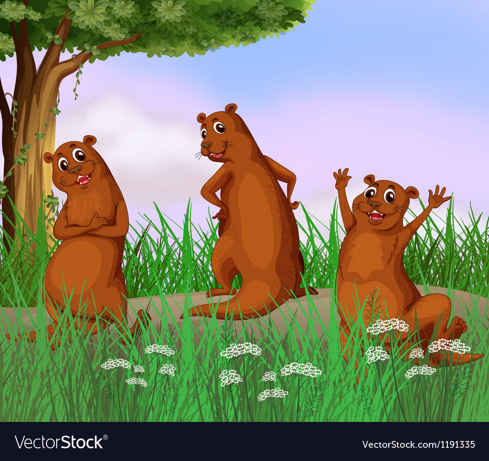 Three wild animals at the road vector | Price: 1 Credit (USD $1)