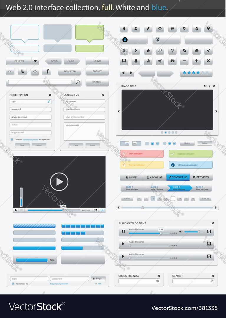 Web 20 interface full vector | Price: 1 Credit (USD $1)