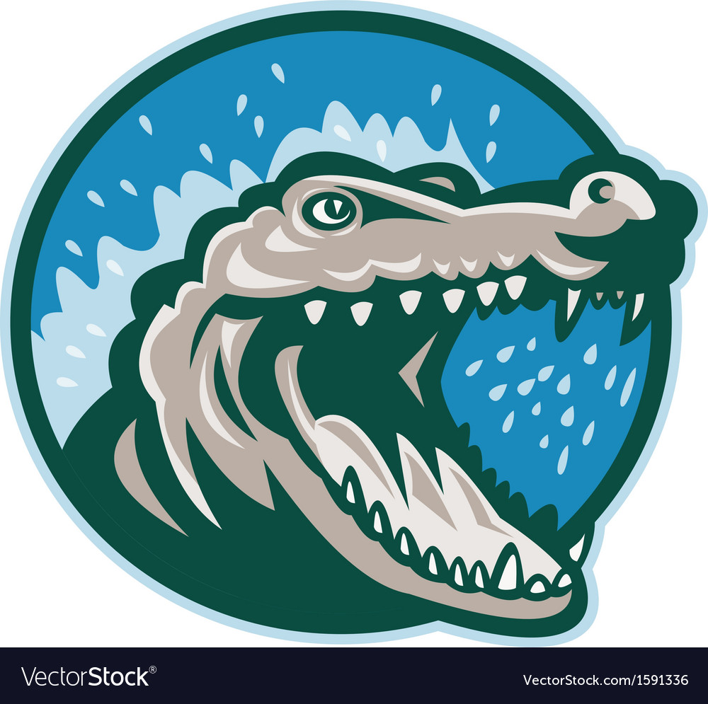 Angry crocodile or gator head snapping vector | Price: 1 Credit (USD $1)