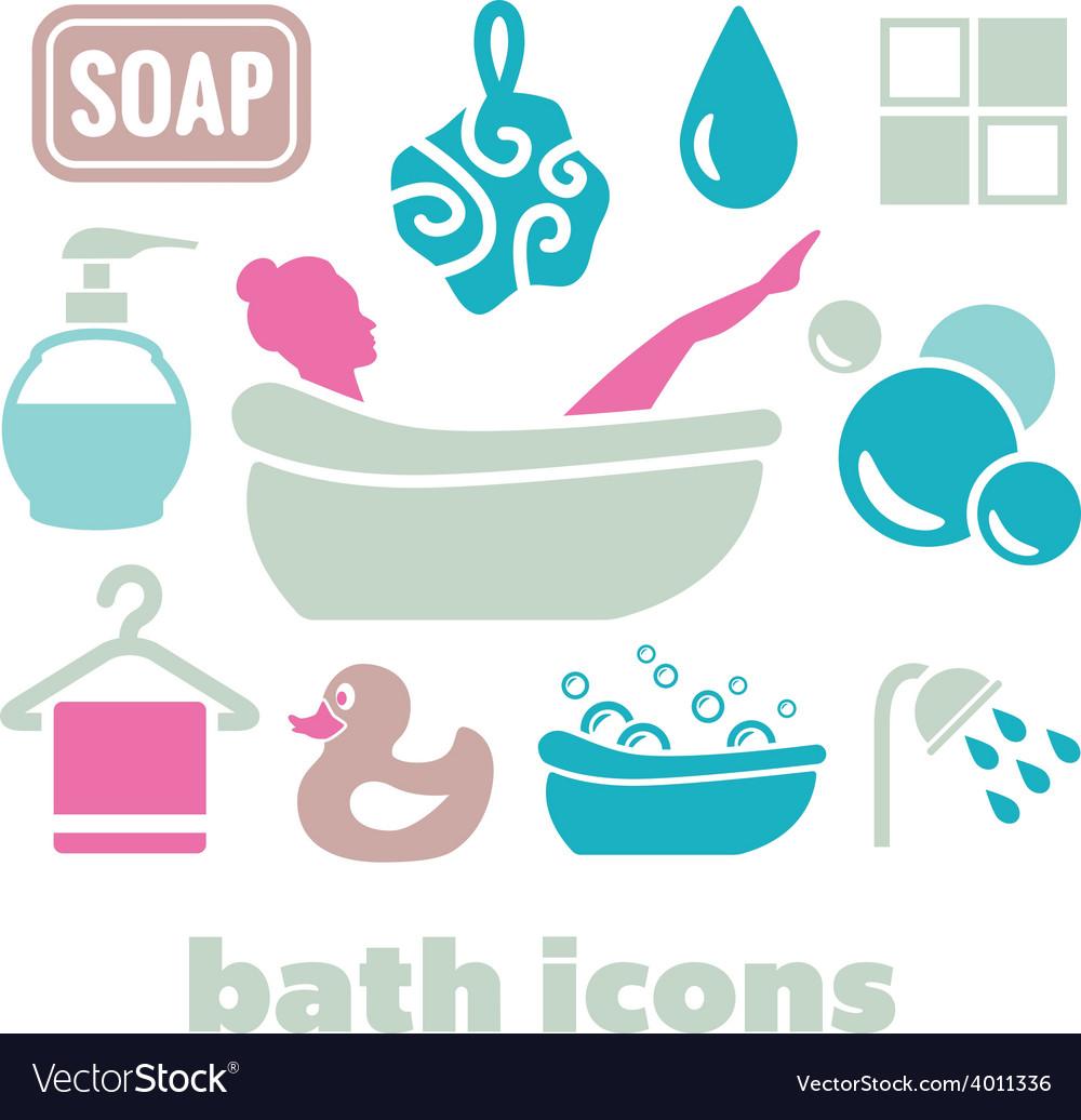 Bath icons vector | Price: 1 Credit (USD $1)