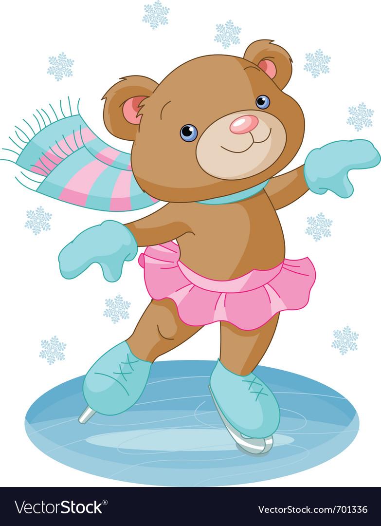 Bear girl on ice skates vector