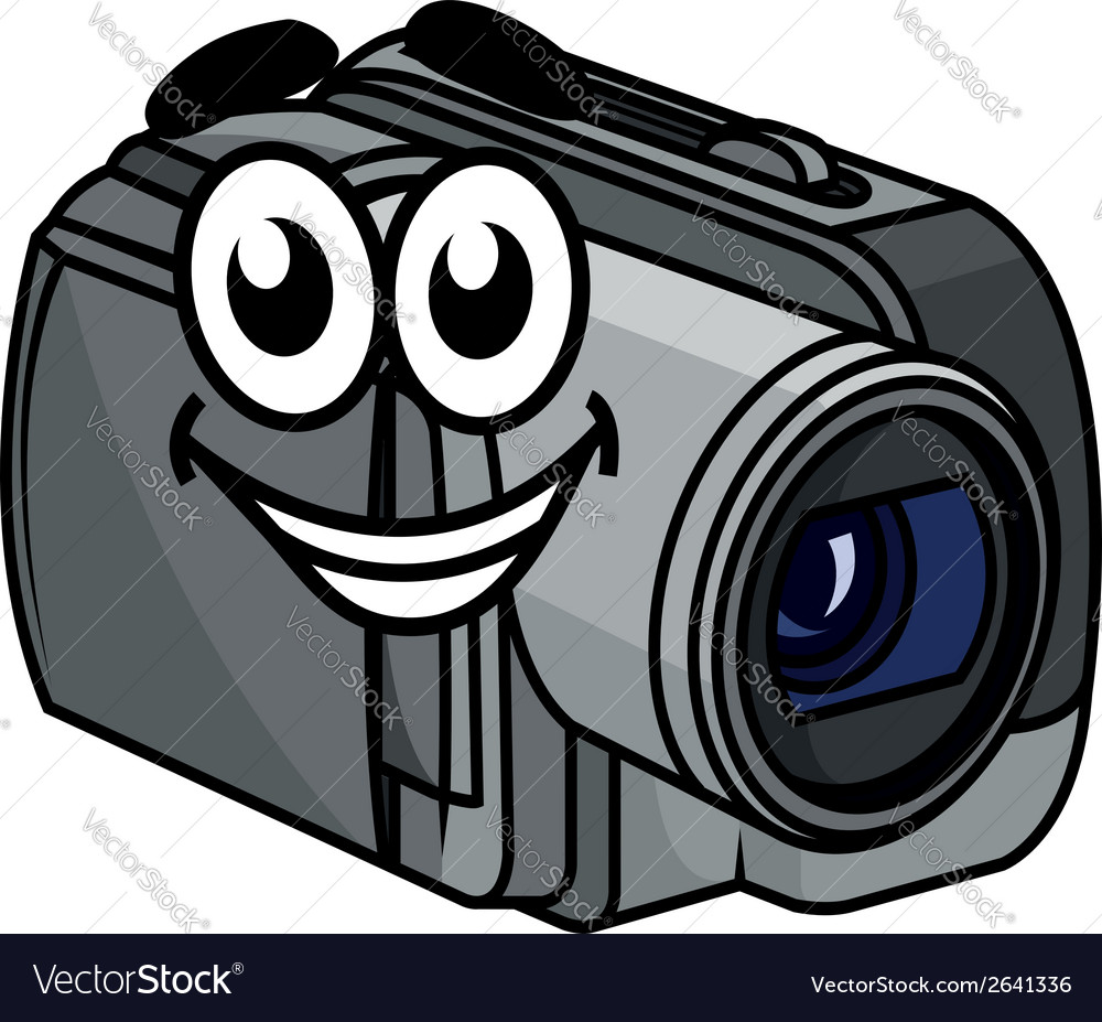 Happy gray cartoon video camera vector | Price: 1 Credit (USD $1)