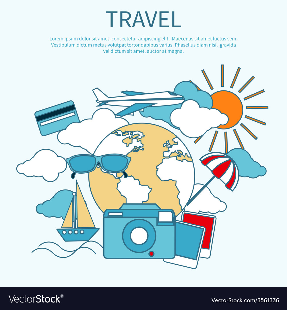 International travel by airplane vector | Price: 1 Credit (USD $1)