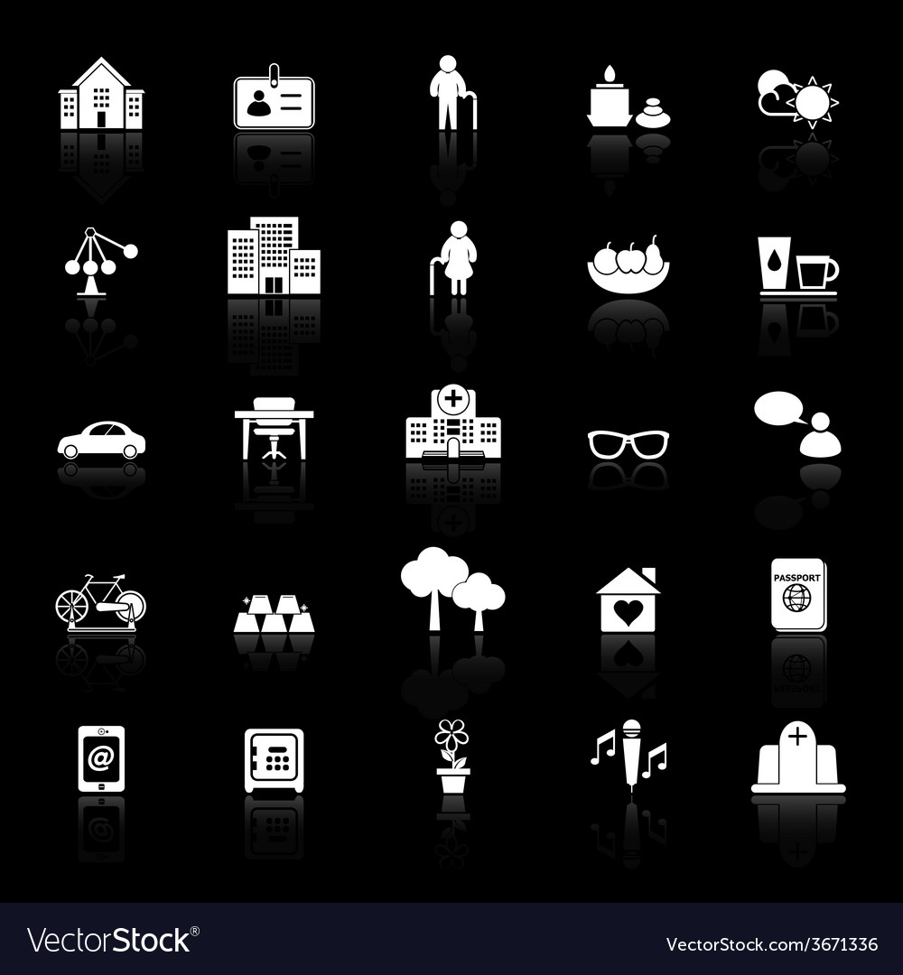 Retirement community icons with reflect on black vector | Price: 1 Credit (USD $1)