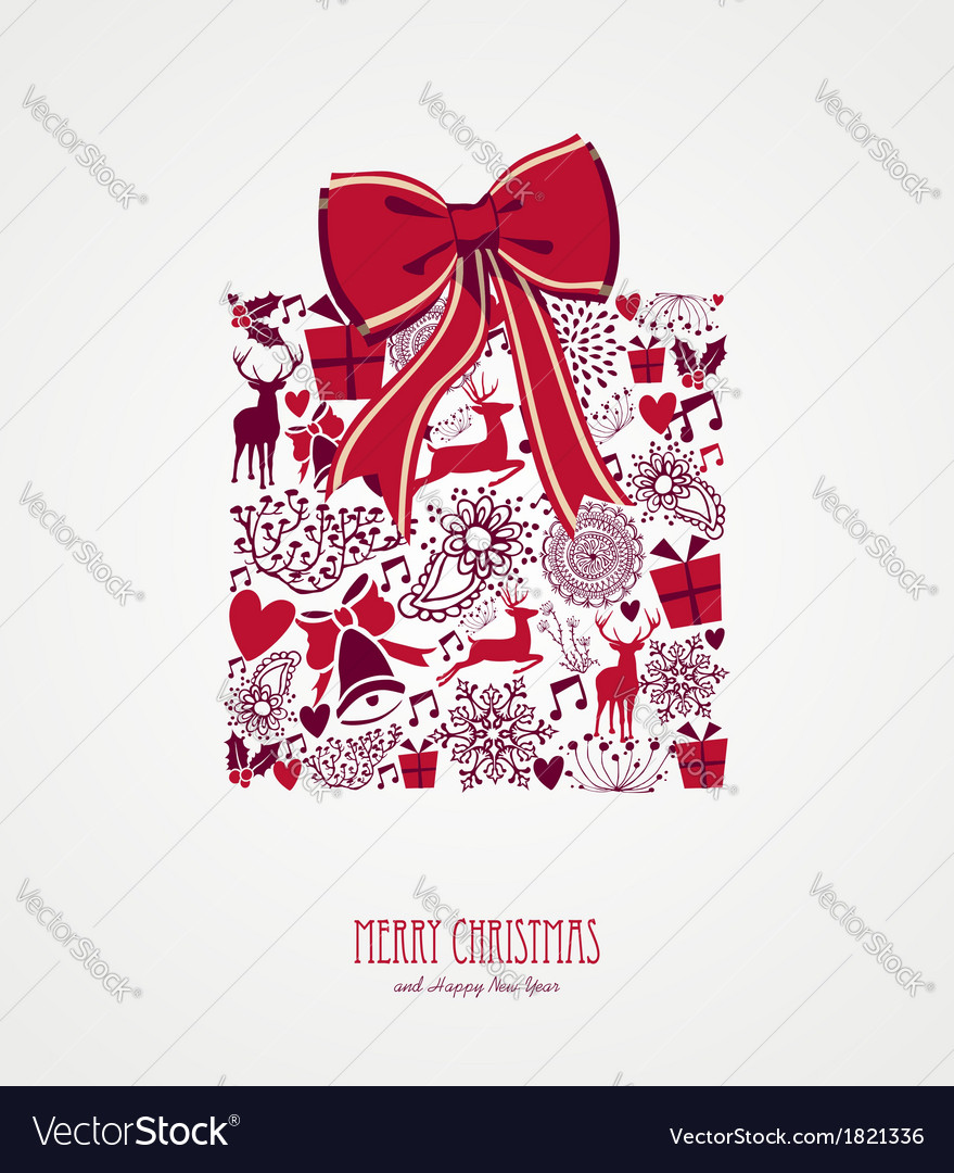 Retro christmas present composition file vector | Price: 1 Credit (USD $1)