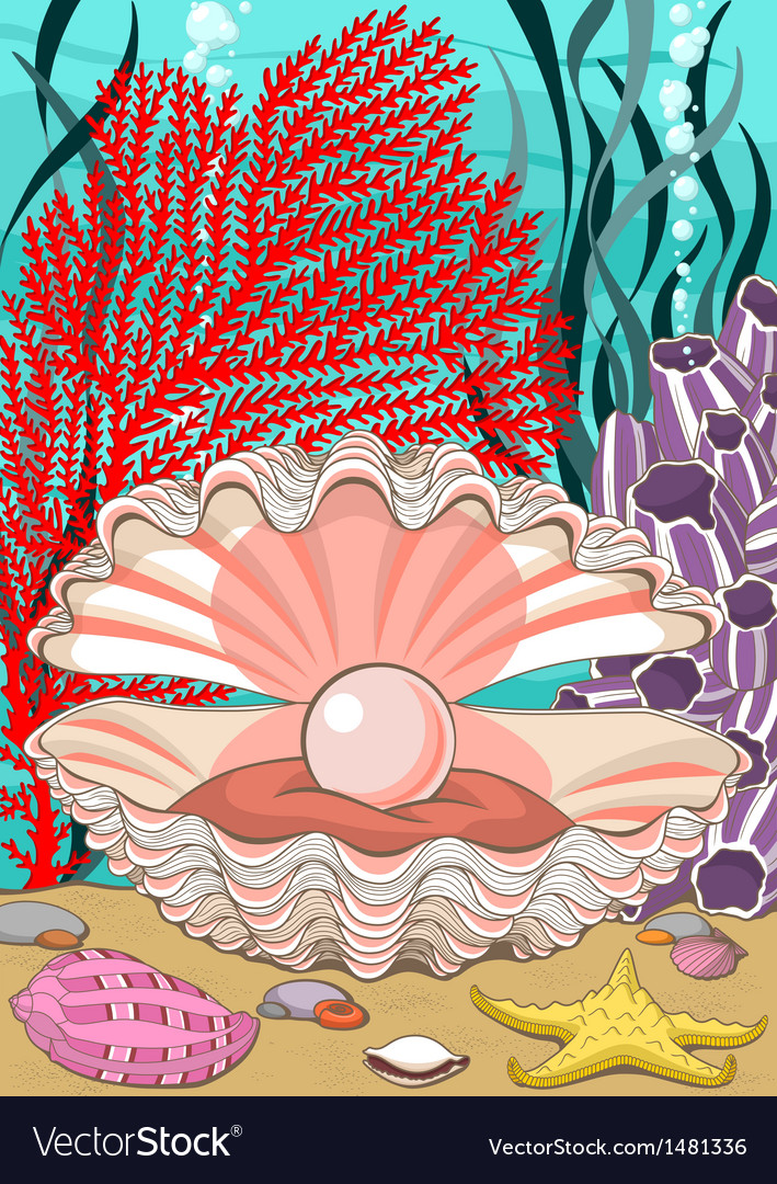 Seashell with pearl underwater vector | Price: 3 Credit (USD $3)