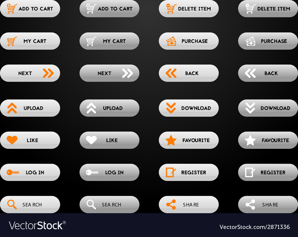 Set of simple grey e-shop buttons vector | Price: 1 Credit (USD $1)