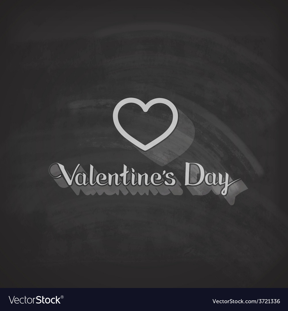 Valentines day lettering emblem on the blackboard vector | Price: 1 Credit (USD $1)