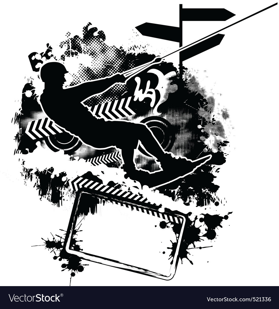 Wakeboarding silhouette on abstract background vector | Price: 1 Credit (USD $1)