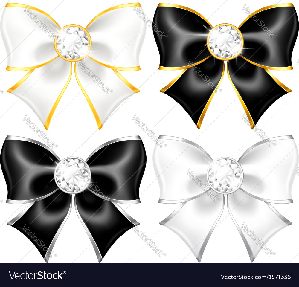 White and black bows with diamonds and gold edging vector | Price: 1 Credit (USD $1)