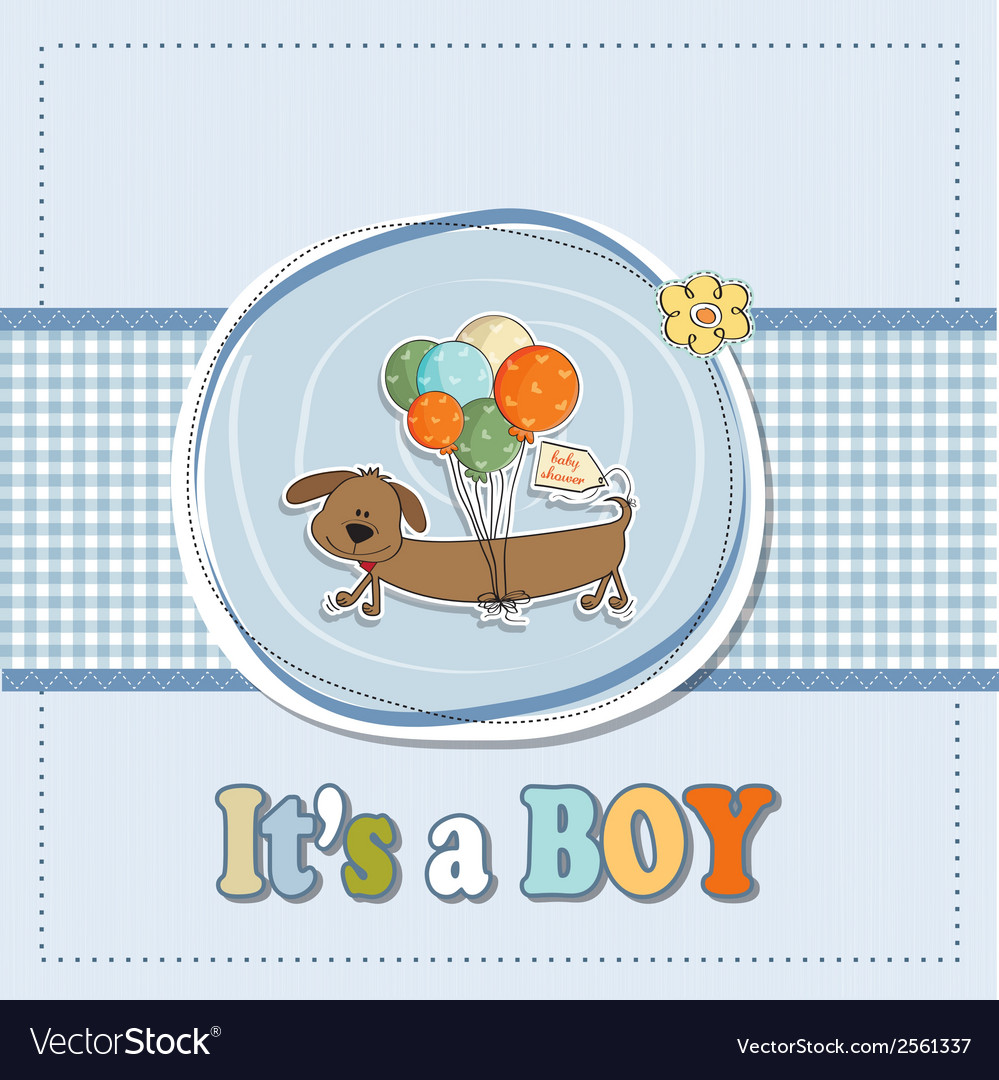 Baby boy shower card with long dog and balloons vector | Price: 1 Credit (USD $1)