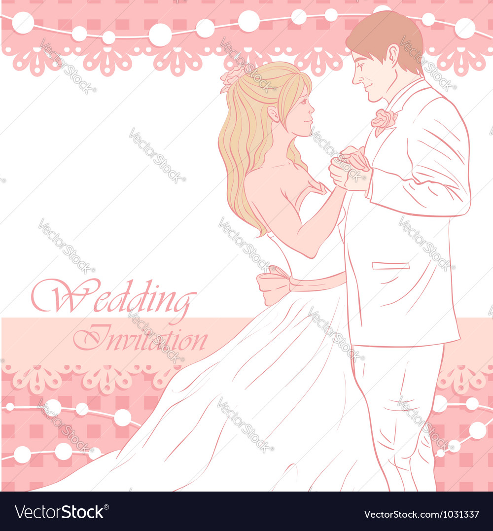 Bride and groom wedding invitation card vector | Price: 3 Credit (USD $3)