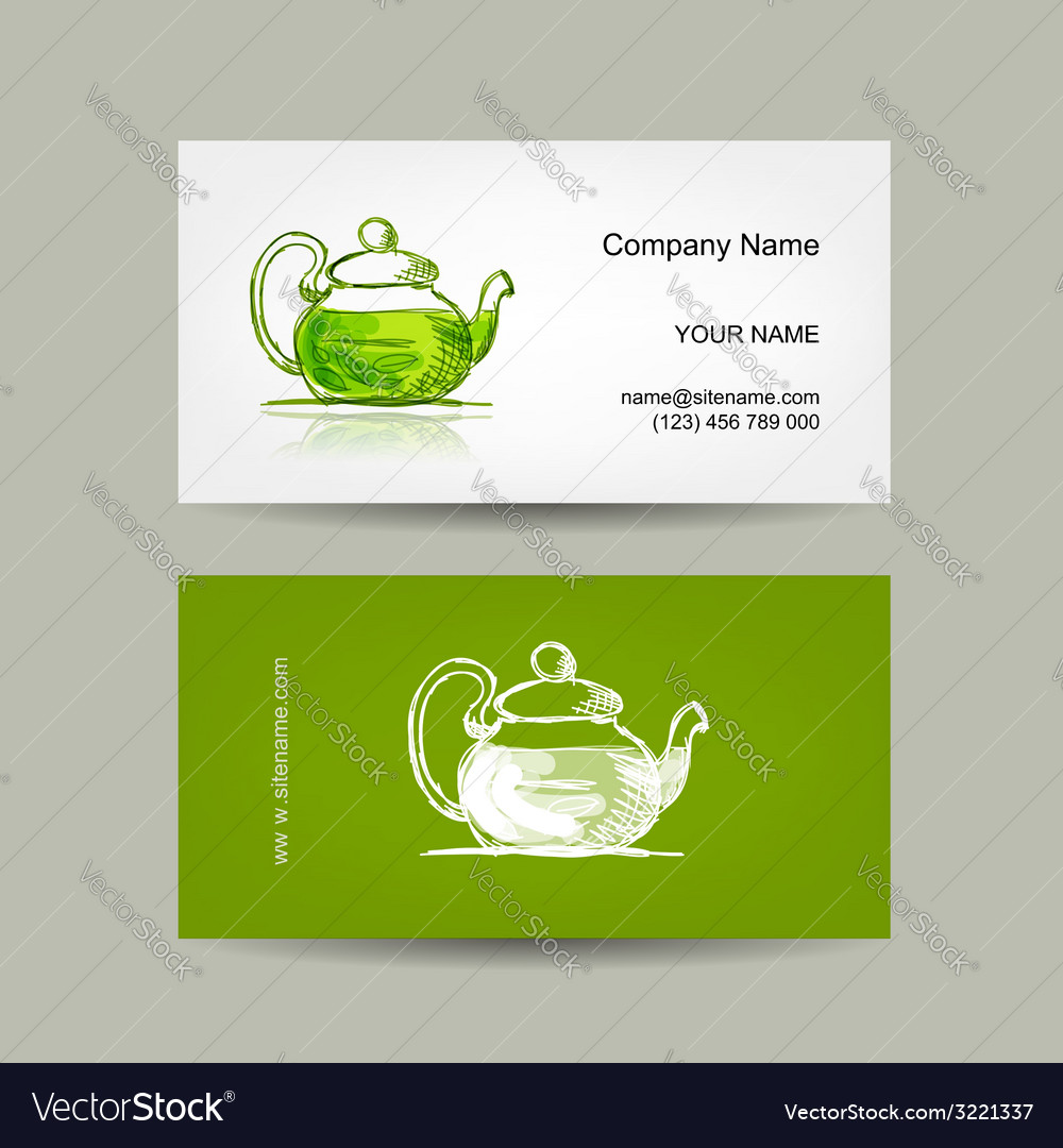 Business cards design green trea sketch vector | Price: 1 Credit (USD $1)
