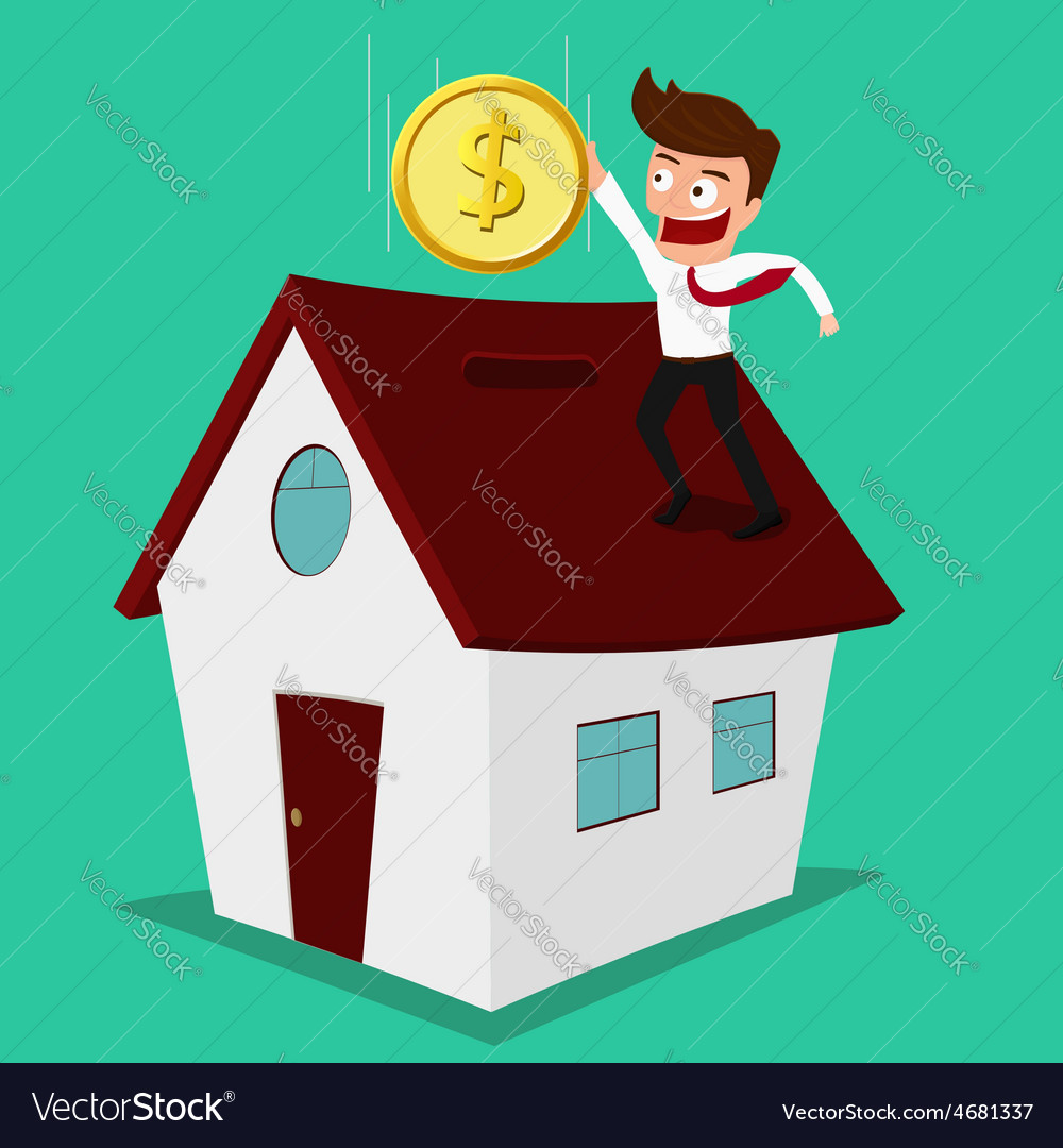 Businessman putting coin inside the house vector | Price: 1 Credit (USD $1)