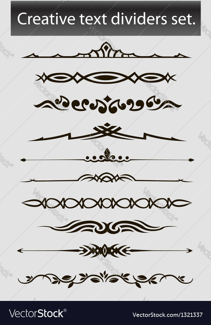 Creative text dividers set vector | Price: 1 Credit (USD $1)