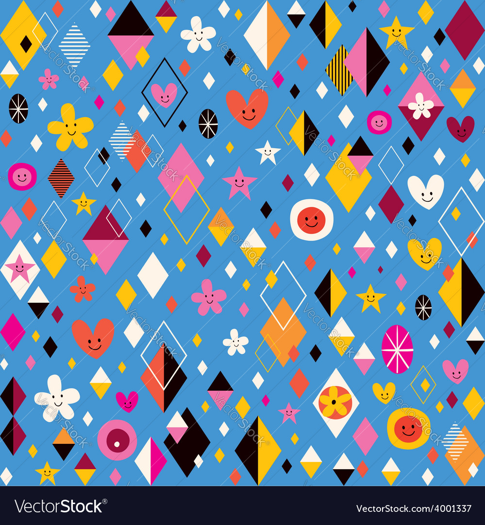 Cute hearts stars flowers and diamond shapes retro vector | Price: 1 Credit (USD $1)
